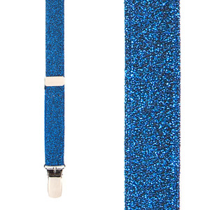 Royal Blue Glitter Suspenders - Front View