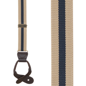 Striped Y-Back Button Suspenders in Tan/Navy - Front View