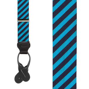 Blue Silk Diagonal Stripe Suspenders - Front View