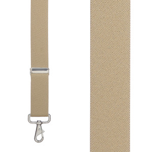 Front View - 1.5 Inch Wide Trigger Snap Suspenders - TAN