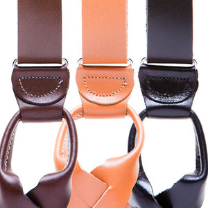 All Leather Button Suspenders - All Colors