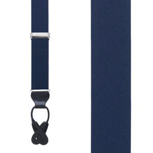 Grosgrain Button Suspenders - Dark Navy Front View