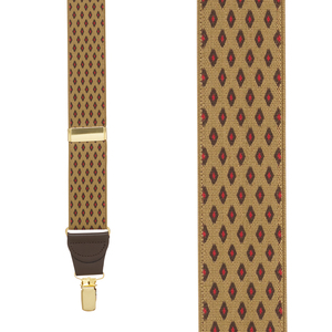 TAN Jacquard Diamond Burst Suspenders - Clip - Front View