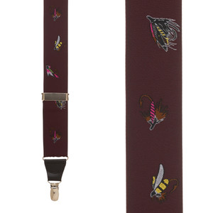 Vintage Ribbon Fly Fishing Suspenders in Burgundy - Front View