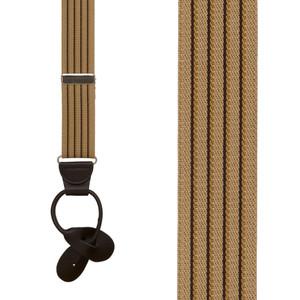 Pinstripe Elastic Suspenders in Tan - Front View