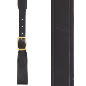 Plain w/Crease Handcrafted Western Leather Belt Loop Suspenders - BLACK - Front View