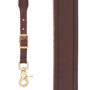 Plain Tooled 1 Inch Wide Western Leather Suspenders - BROWN Front View