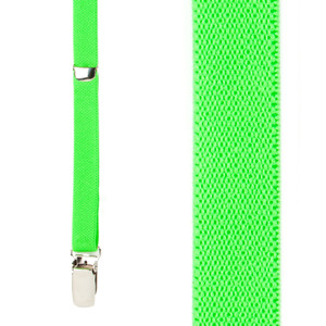 Skinny Suspenders in Neon Green - Front View