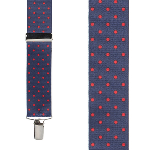 Front View - Polka Dot Suspenders - Red on Navy 1.5 Inch Wide Clip