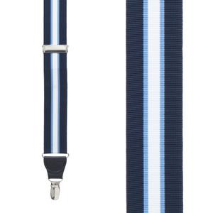 Grosgrain Clip Suspenders - Navy Steel Stripe Front View
