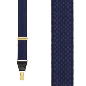 Navy Jacquard Checkered Suspenders - Clip - Front View