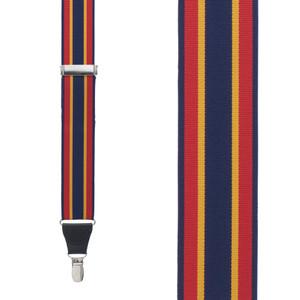 Grosgrain Clip Suspenders - Red Yellow Navy Stripe Front View