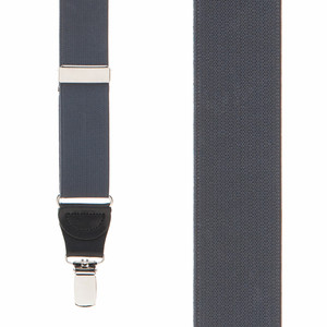 1.25 Inch Wide Y-Back Clip Suspenders in Dark Grey - Front View