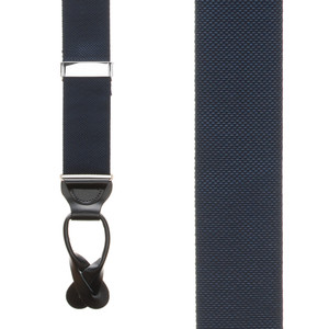 Navy Blue Oxford Cloth Suspenders - Button - Front View