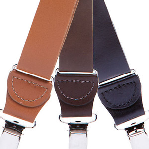 All Leather Clip Suspenders - All Colors