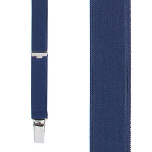 3/4 Inch Wide Thin Suspenders - NAVY BLUE (Satin) - Front View