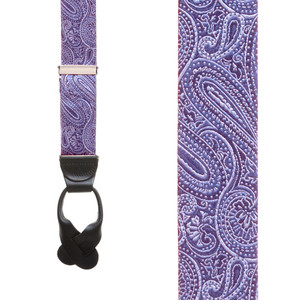 Purple Paisley Silk Suspenders - Button - Front View
