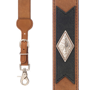 Apache Western All Leather Suspenders - Front View