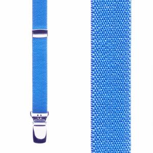 Neon Blue Skinny Suspenders - Front View