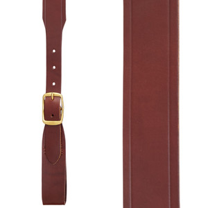 Plain w/Crease Handcrafted Western Leather Belt Loop Suspenders - BROWN - Front View