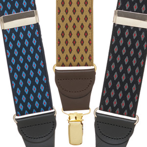 Jacquard Diamond Burst Clip Suspenders