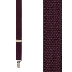 1 Inch Wide Clip Y-Back Suspenders in Eggplant - Front View