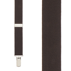 1 Inch Wide Clip Y-Back Suspenders in Brown - Front View