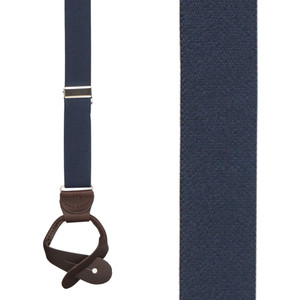 1 Inch Wide Button Suspenders in Navy Blue with Brown Leather - Front View