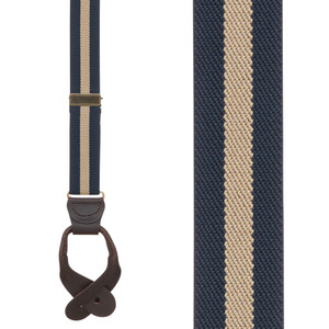 Striped Y-Back Button Suspenders in Navy/Tan - Front View