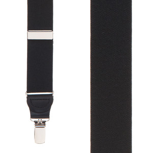1.25 Inch Wide Y-Back Drop Clip Suspenders in Black - Front View