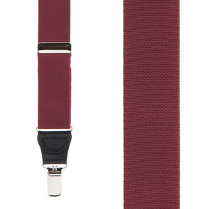 1.25 Inch Wide Y-Back Clip Suspenders in Burgundy - Front View