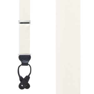 Silk Suspenders in Ivory - Front View