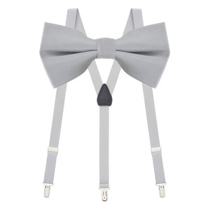 Bow Tie and Suspenders Set in Light Grey