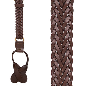 Herringbone Braided Leather Button Suspenders in Brown - Front View