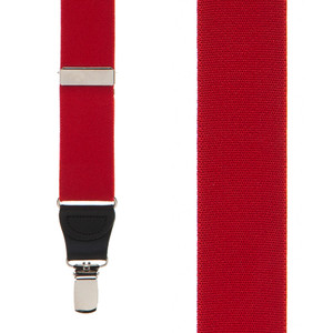 1.25 Inch Wide Y-Back Clip Suspenders in Red - Front View