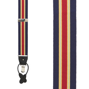 Yellow & Navy Variable Stripe Barathea Suspenders Front View