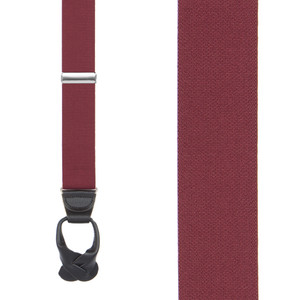 1.25 Inch Wide Button Suspenders in Burgundy - Front View