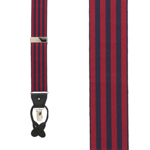 Barathea Equal Stripes Suspenders in Burgundy & Navy - Front View