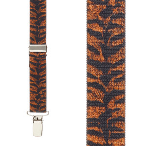 Tiger Print Suspenders For Kids Front View