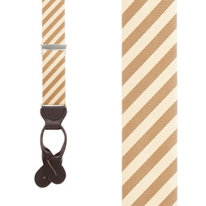 Silk Striped Suspenders in Tan & Ivory - Front View