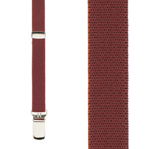 1/2-Inch Wide Skinny Suspenders in Burgundy - Front View