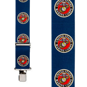 US Marines Suspenders in Blue - Front View