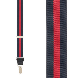Striped Y-Back Clip Suspenders in Navy/Red - Front View