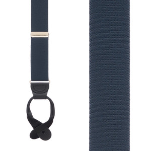 1.25 Inch Wide Button Suspenders in Navy - Front View