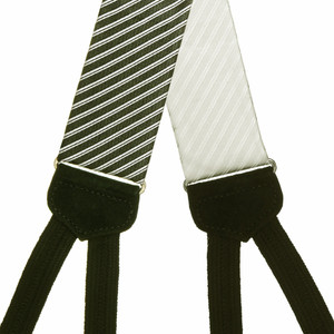 Formal Diagonal Stripe Silk Suspenders - All Colors