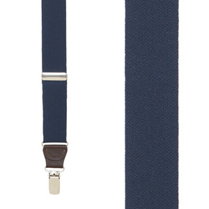 1.25 Inch Wide Y-Back Clip Suspenders in Navy Blue with Brown Leather - Front View