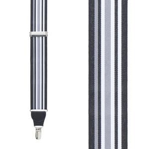 Grosgrain Clip Suspenders - Black and White Stripe Front View