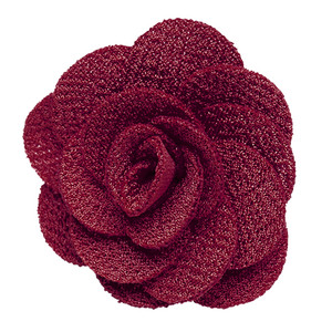 Crepe Lapel Flower in Burgundy