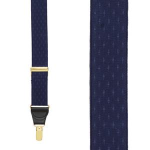 Navy Blue Jacquard Suspenders - Petite Diamonds Clip - Front View
