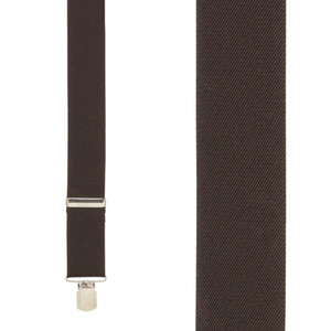 Front View - 1.5 Inch Wide Pin Clip Suspenders - BROWN